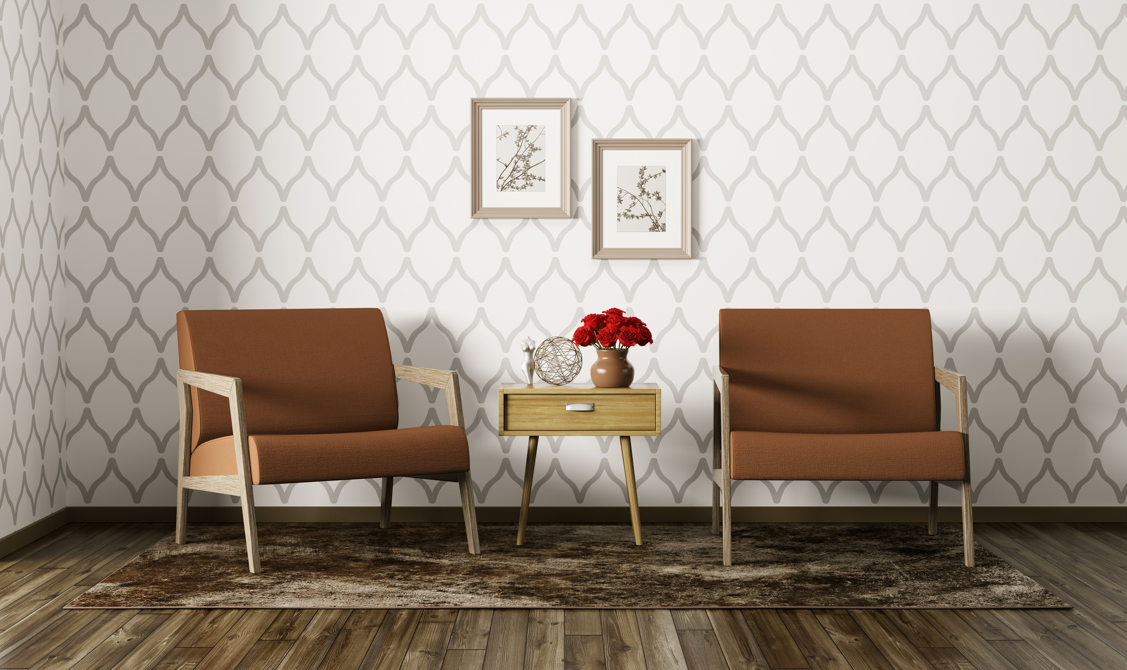 Living room with wall paper