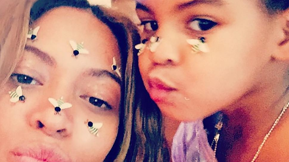 Beyonce and Blue with bee stickers