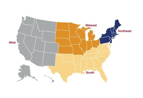 the four regions of the u s as defined by fbi administrators fbi