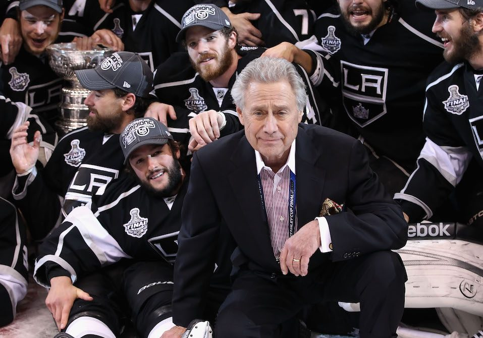 Owner of the Los Angeles Kings, Philip F. Anschutz poses with the team