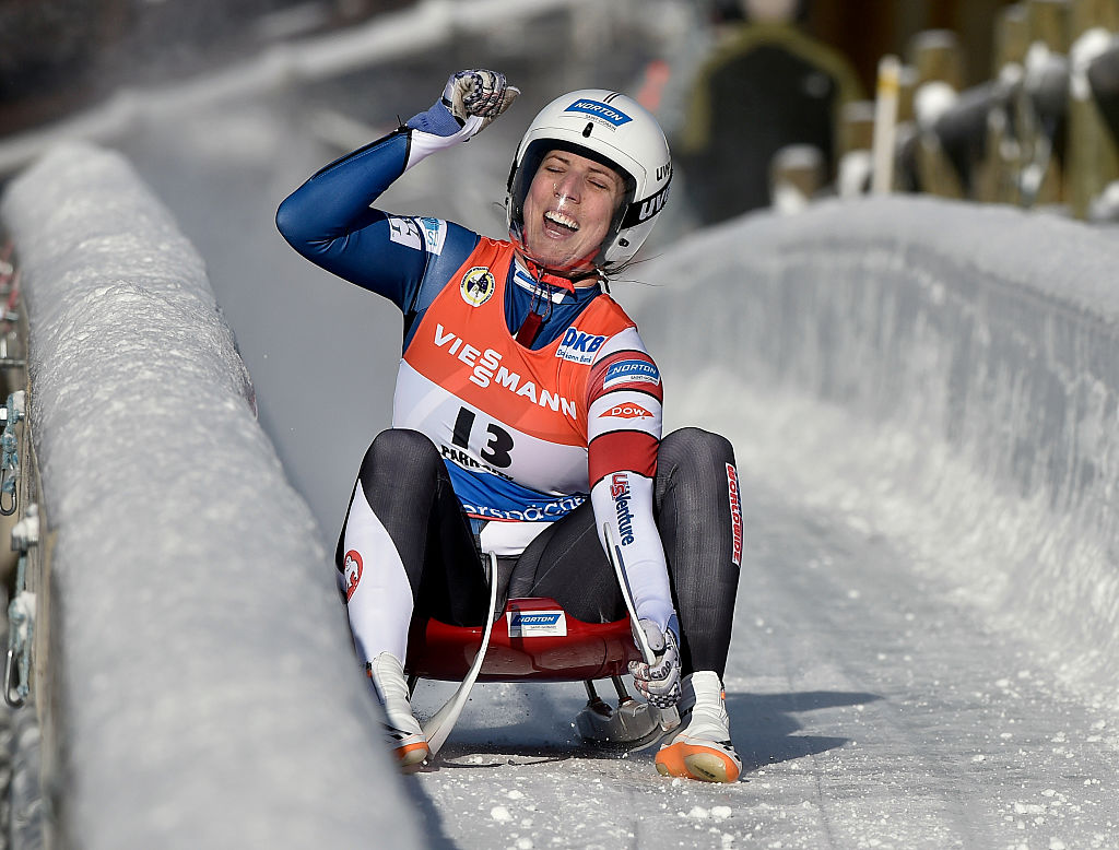 Erin Hamlin of the United States reacts to her first place finish in the Women's Luge competition