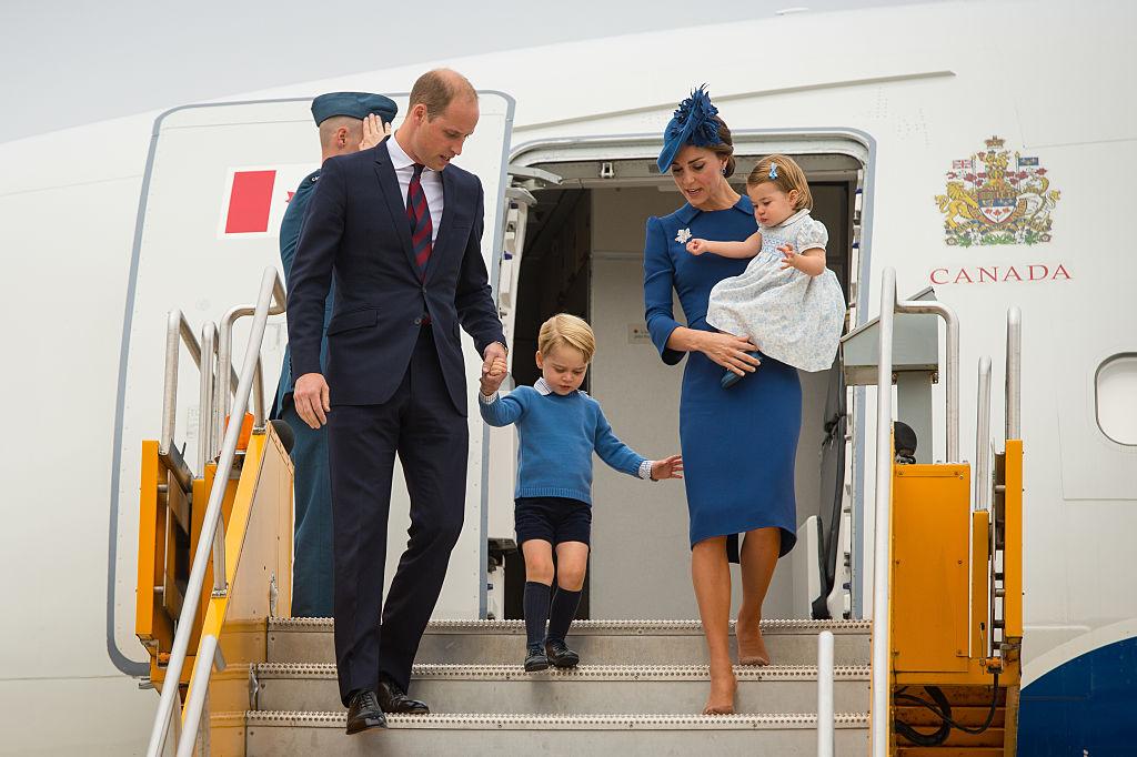 Prince William, Duke of Cambridge, Catherine, Duchess of Cambridge, Prince George of Cambridge and Princess Charlotte of Cambridge arrive at Victoria International Airport