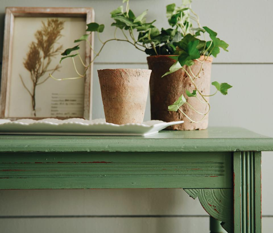 green table and shiplap wall