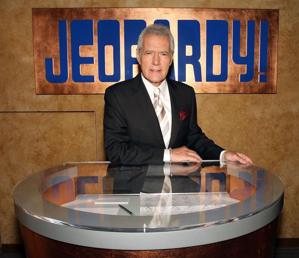 Host Alex Trebek poses on the set at Sony Pictures for the 28th Season Premiere of the television show 'Jeopardy