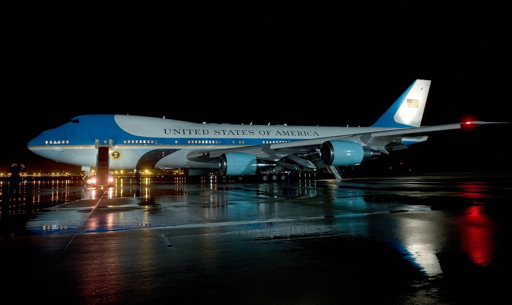 Air Force One sits on the tarmac at Andrews Air Force Base in Maryland