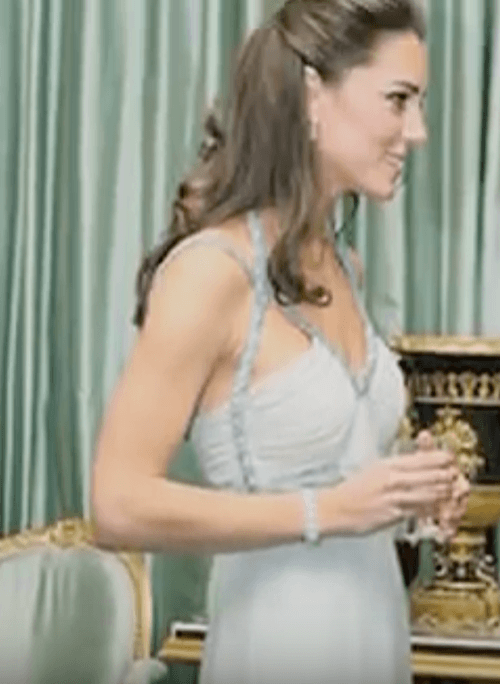 Kate Middleton mingles with a guest at a charity event.