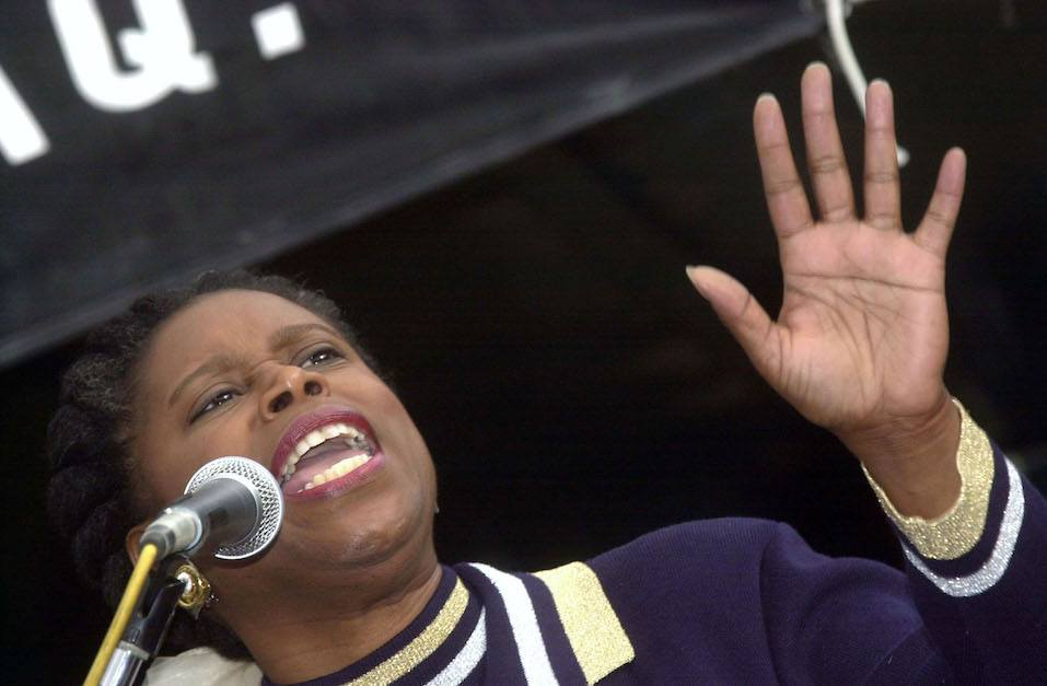 Congresswoman Cynthia McKinney speaks to thousands of anti-war demonstrators protesting a possible war in Iraq