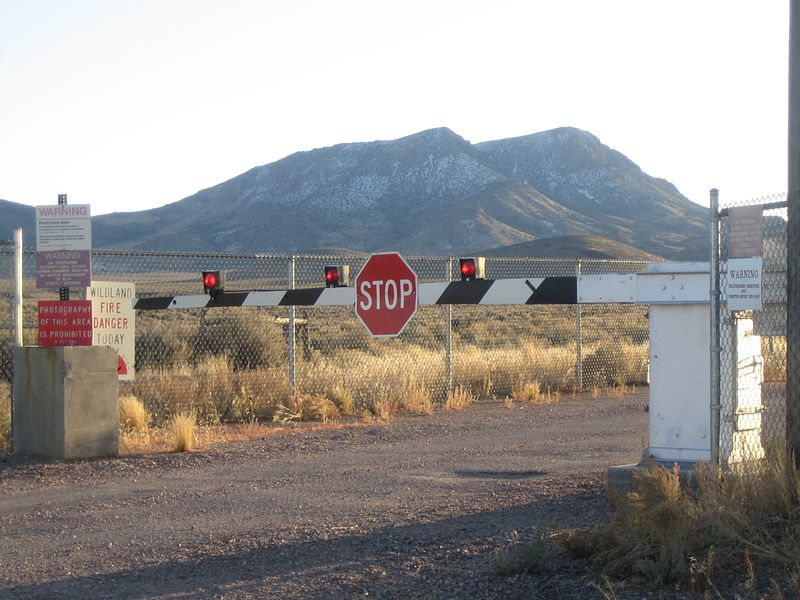 Entrance gate to top secret government Area 51.