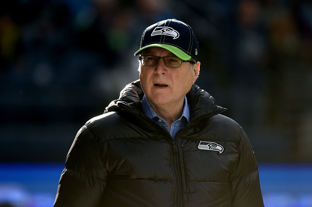 Seattle Seahawks owner Paul Allen walks on the field prior to their game