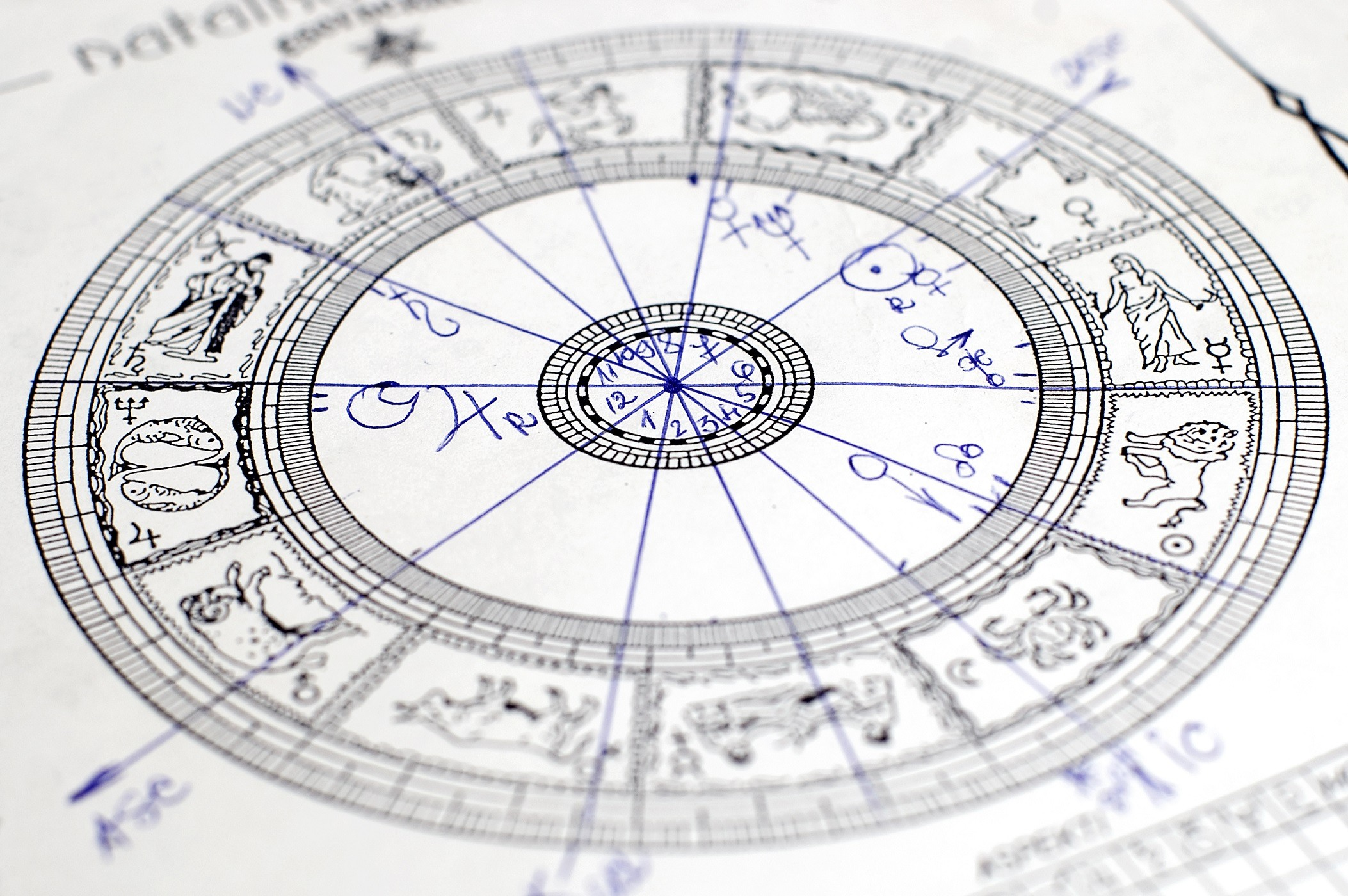 Black and white zodiac Astrology chart
