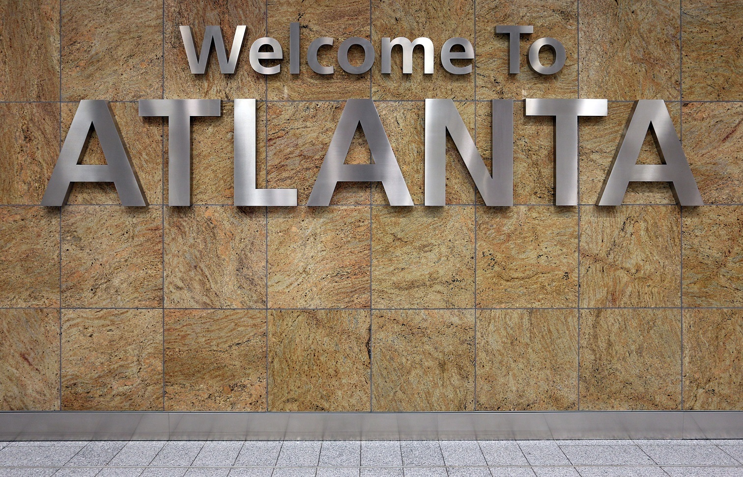 A Welcome to Atlanta sign in the Atlanta airport