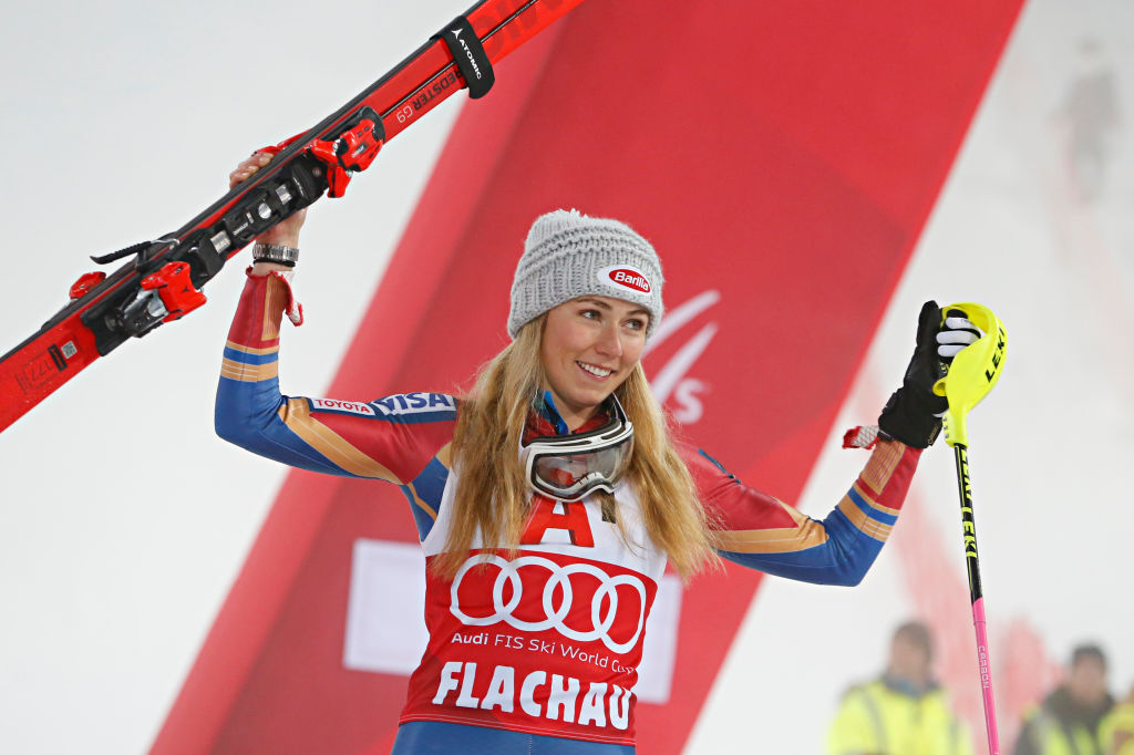 Mikaela Shiffrin of USA takes 1st place during the Audi FIS Alpine Ski World Cup Women's Slalom