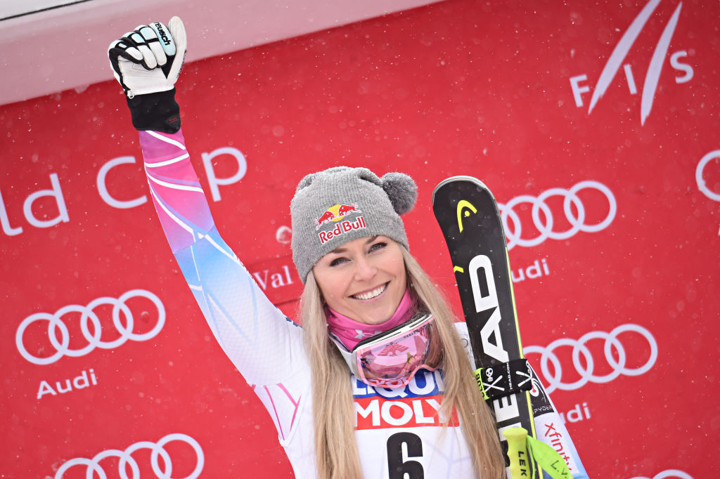 Lindsey Vonn of USA takes 1st place during the Audi FIS Alpine Ski World Cup
