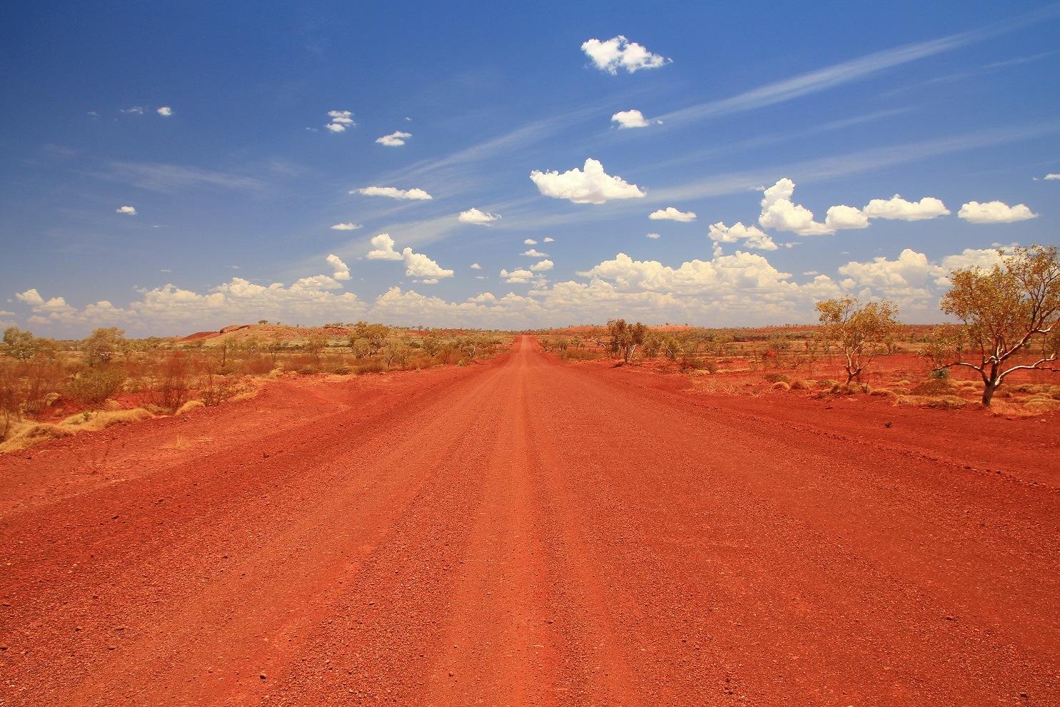 Dirt road across the Pilbara in Australian outback