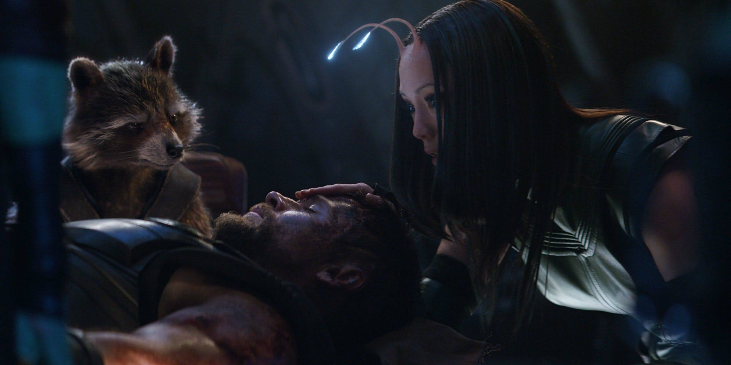 Rocket and Mantis look at an unconscious Thor in Avengers: Infinity War