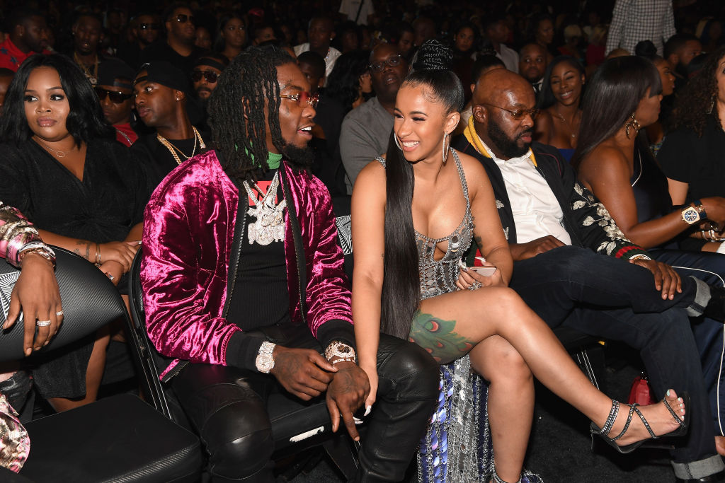 Rappers Offset of Migos and Cardi B attend the BET Hip Hop Awards 2017