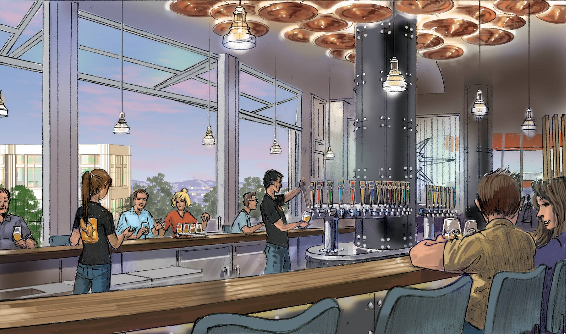 Ballast Point Brewing company downtown Disney drawing