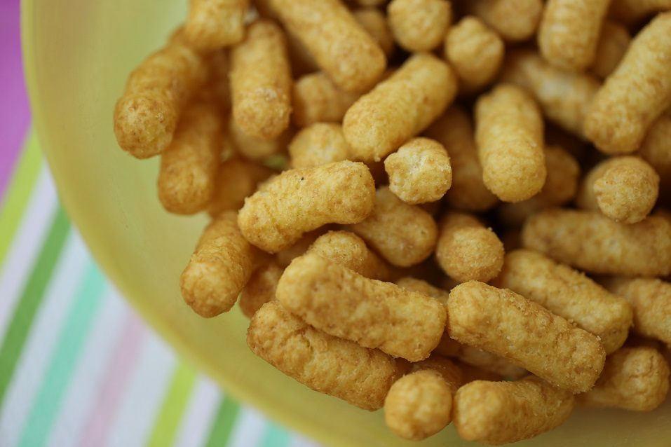 Stack of natural salty snack made of peanuts for toddlers