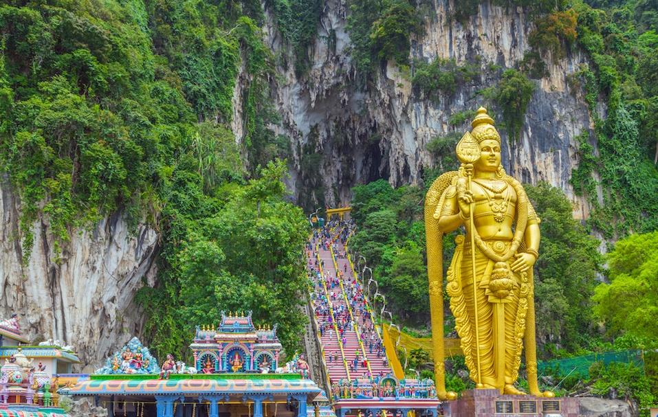 Batu Caves Lord Murugan Statue and entrance near Kuala Lumpur Malaysia.
