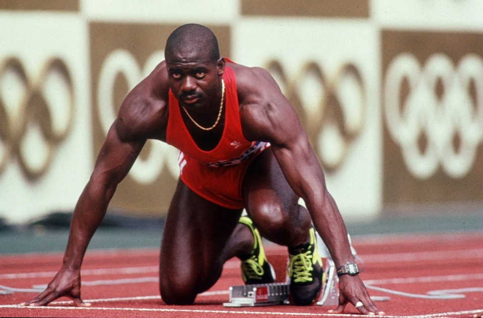 Ben Johnson of Canada is set in his block prior to the start of the men''s 100M Final at the 1988 Olympic Games