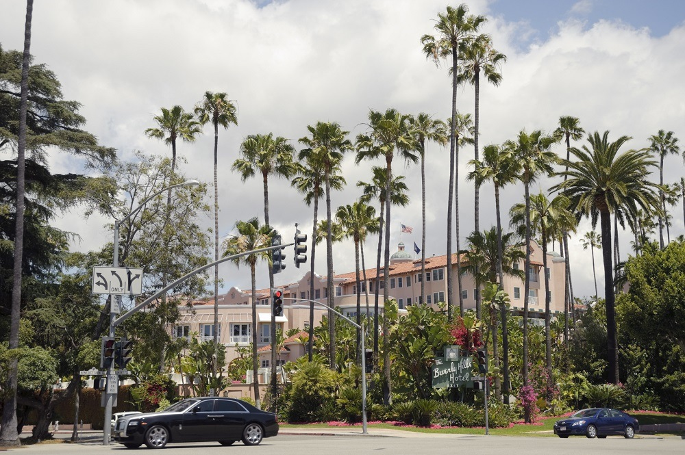 Beverly Hills Hotel from the corner of Sunset Blvd