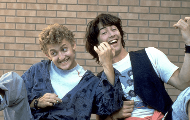 Bill and Ted playing air guitar.