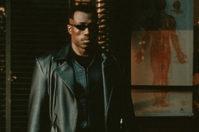 Wesley Snipes in a black leather jacket and sunglasses in 'Blade'.