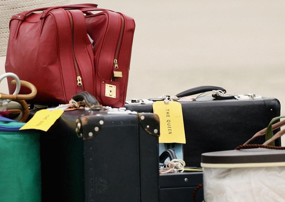 Luggage belonging to HRH Queen Elizabeth II arrives at Richmond International Airport