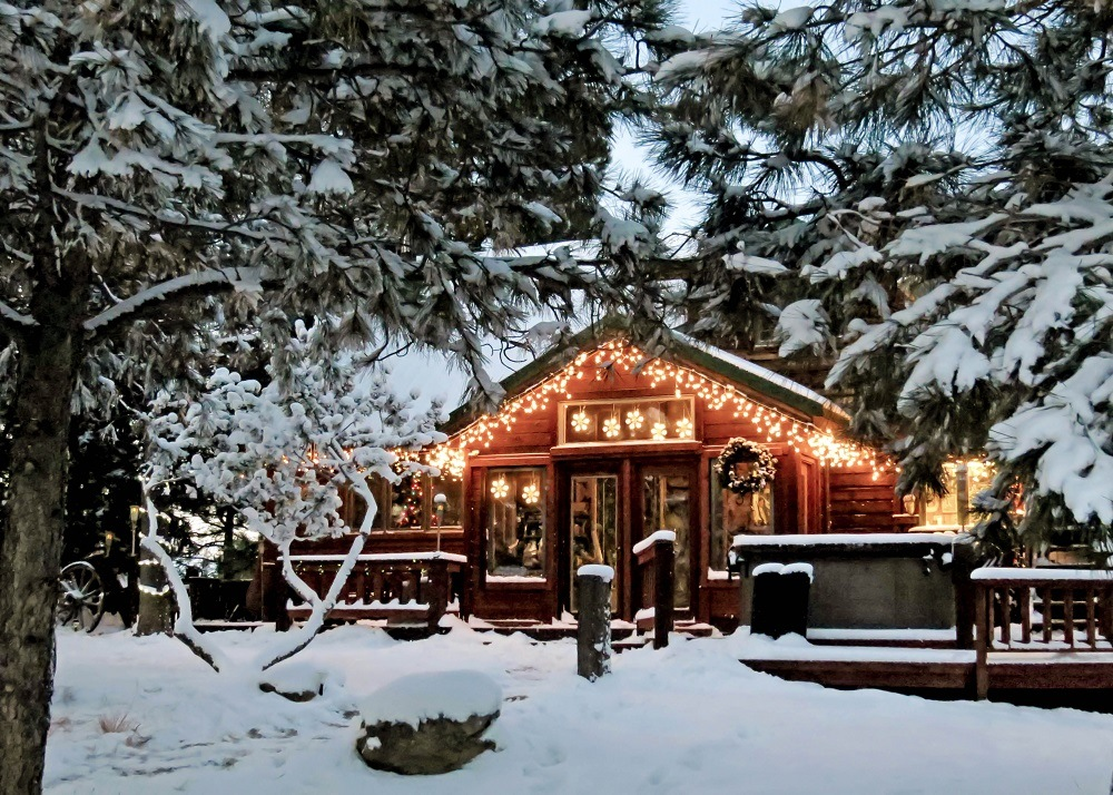Christmas lights on wooden cabin