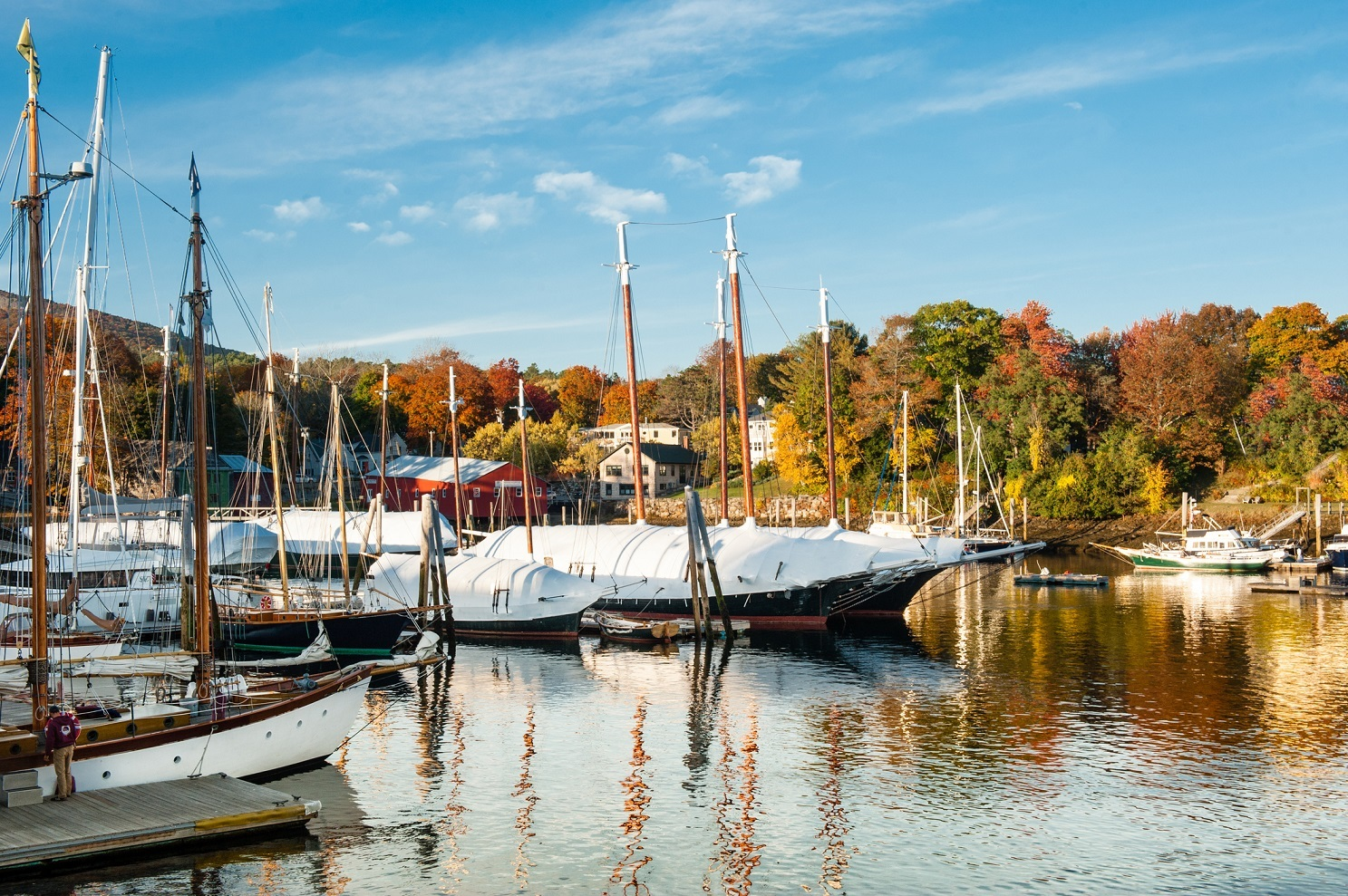 Camden, Maine harbor with bright fall foliage in autumn