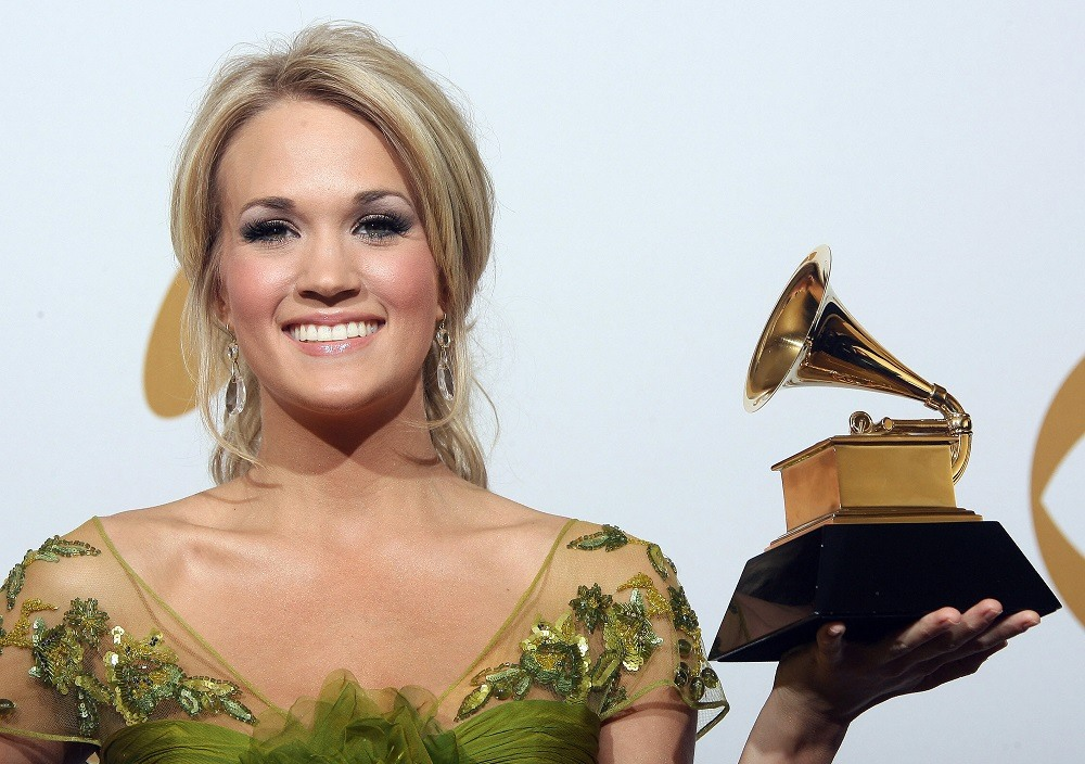 Carrie Underwood holds the Grammy award for the Best Female Country Vocal Performance