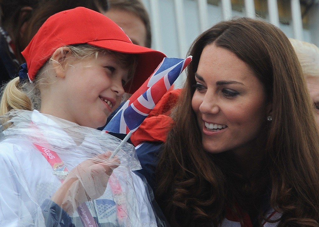 Britain's Catherine, Duchess of Cambridge (R) and Lady Louise Windsor watch the rowing finals during the London 2012 Paralympic Games