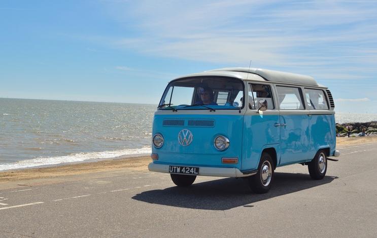 Classic Blue and white Volkswagen camper van
