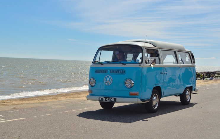 Classic Blue and white Volkswagen camper van