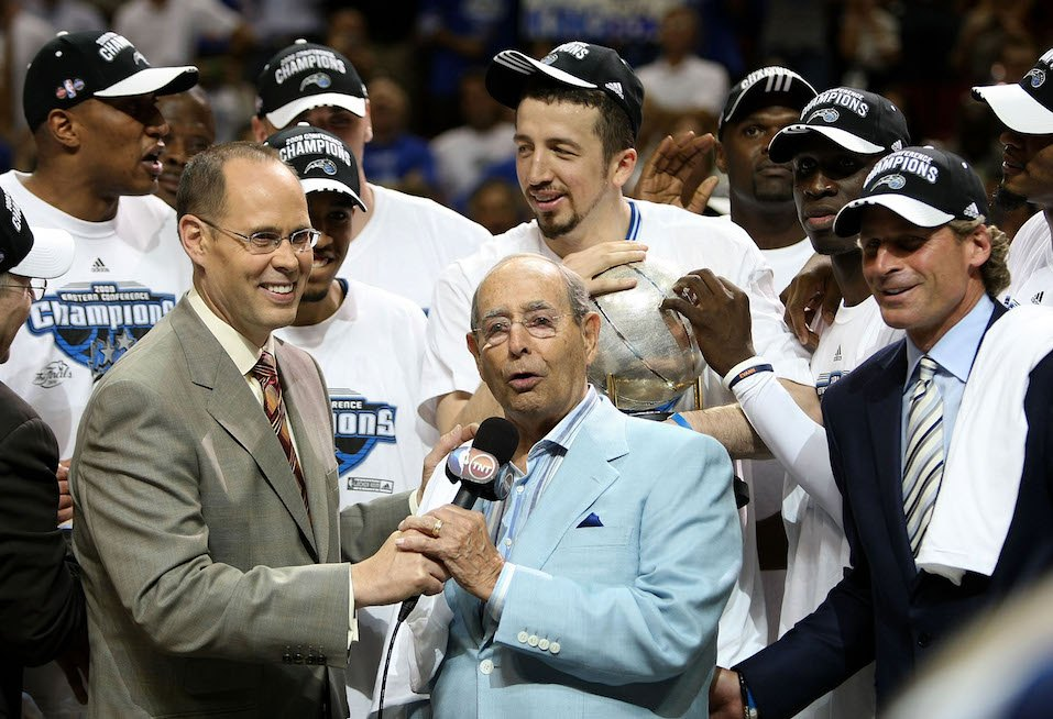 Orlando Magic owner Richard DeVos speaks on the court after defeating the Cleveland Cavaliers of the Orlando Magic in Game Six
