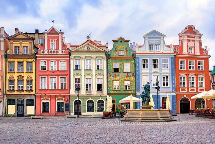 Colorful renaissance facades on central square in Poznan, Poland