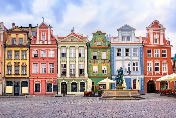 Colorful renaissance facades on central square in Poznan, Poland