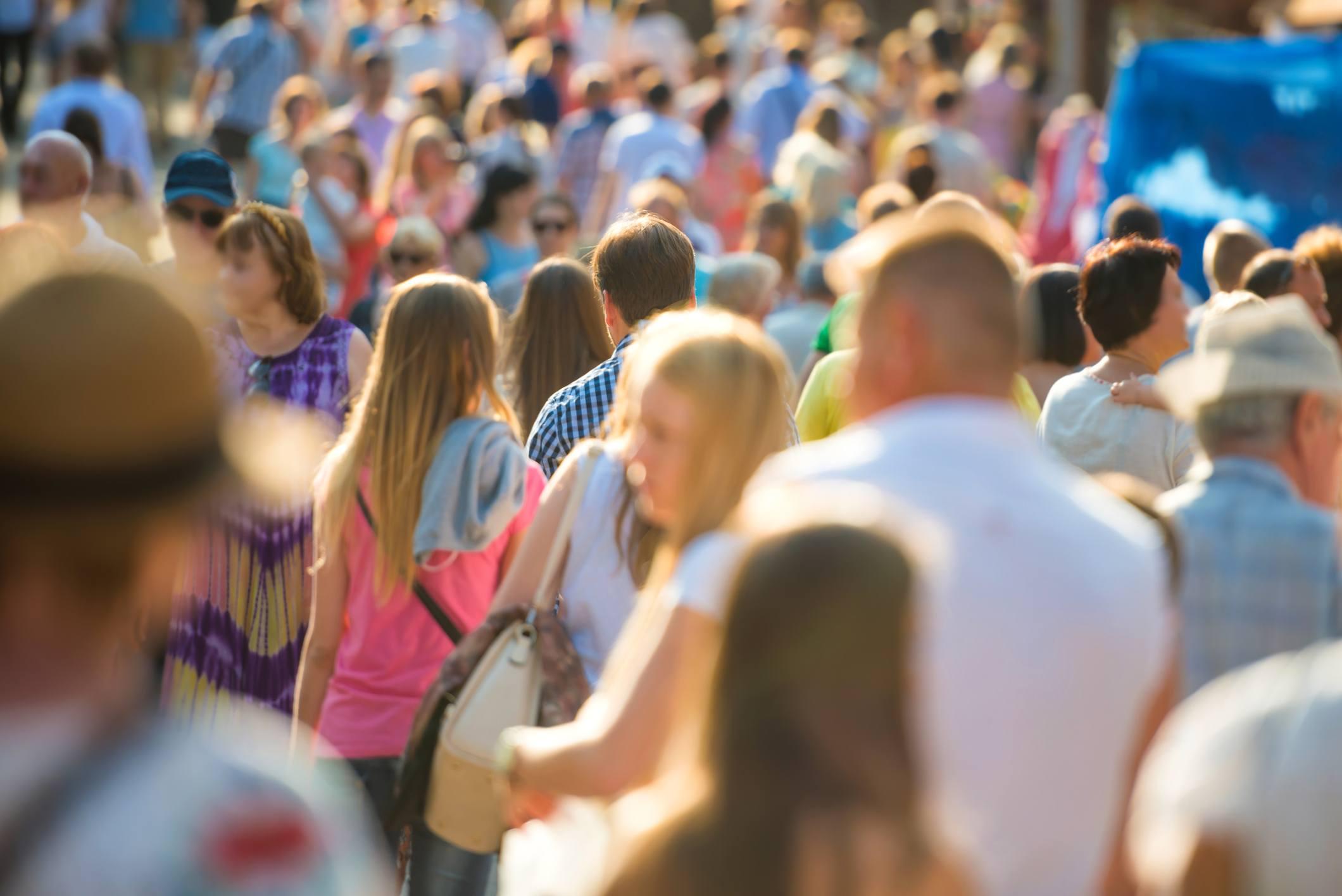 People walking on the city street.