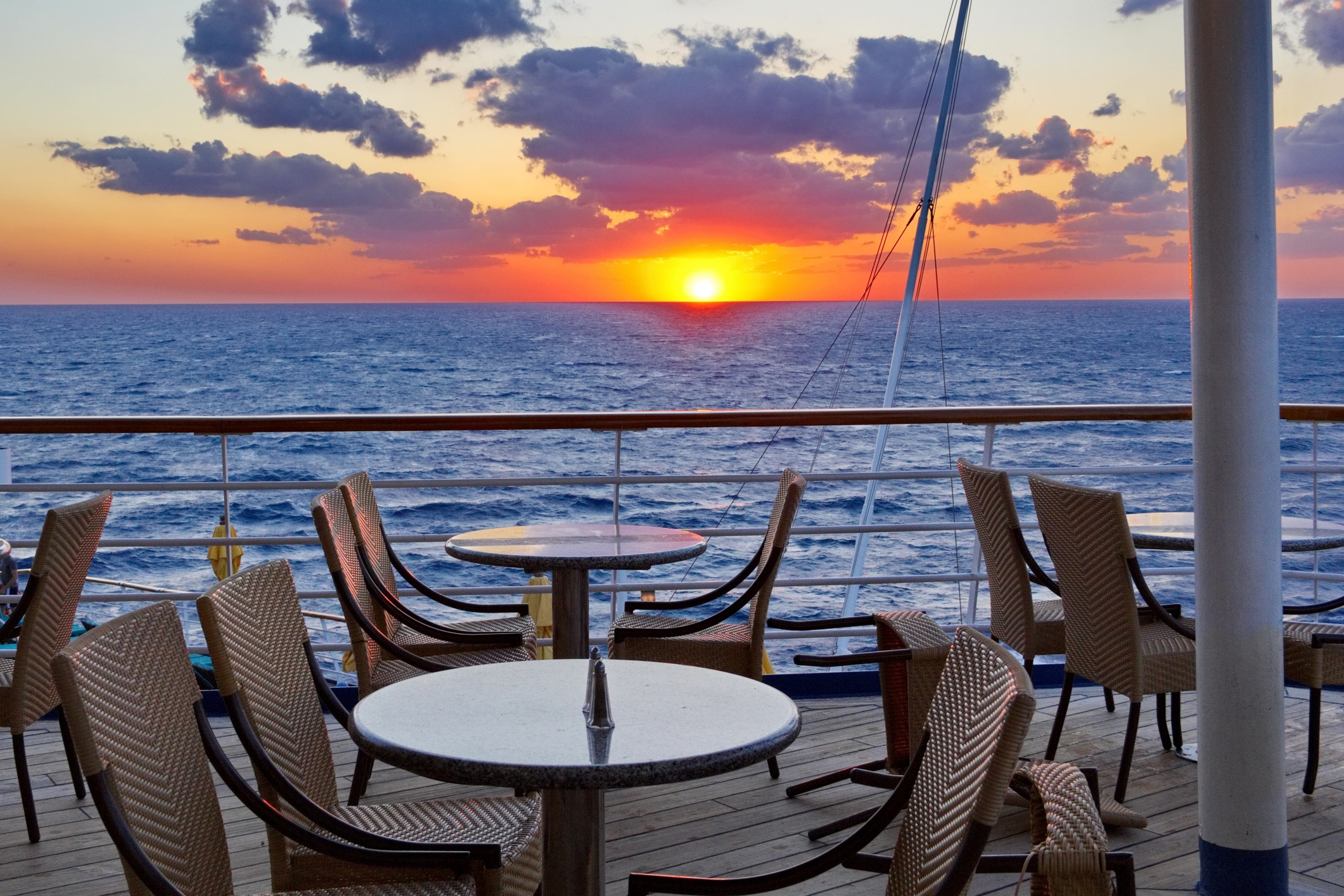 Orange Glow Sunset from the Cruise Ship Dining Deck