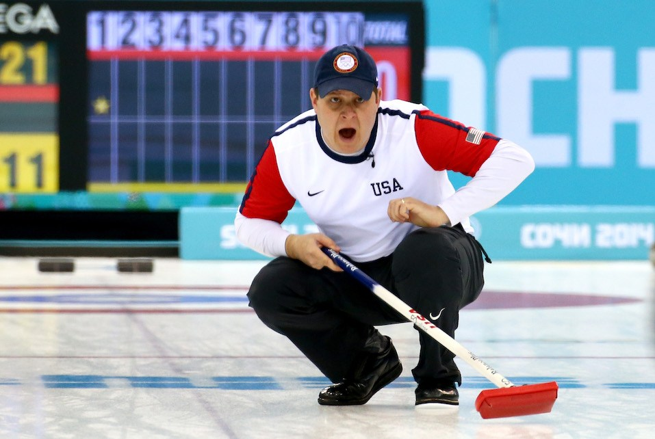 John Shuster of the USA competes against Switzerland during the Men's Curling Round Robin