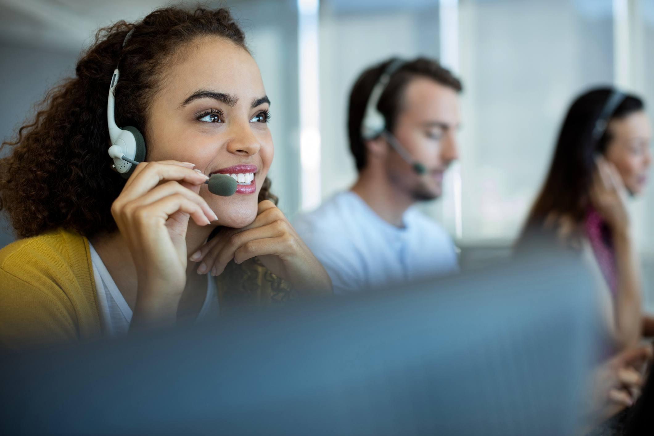 Female Customer service executive working