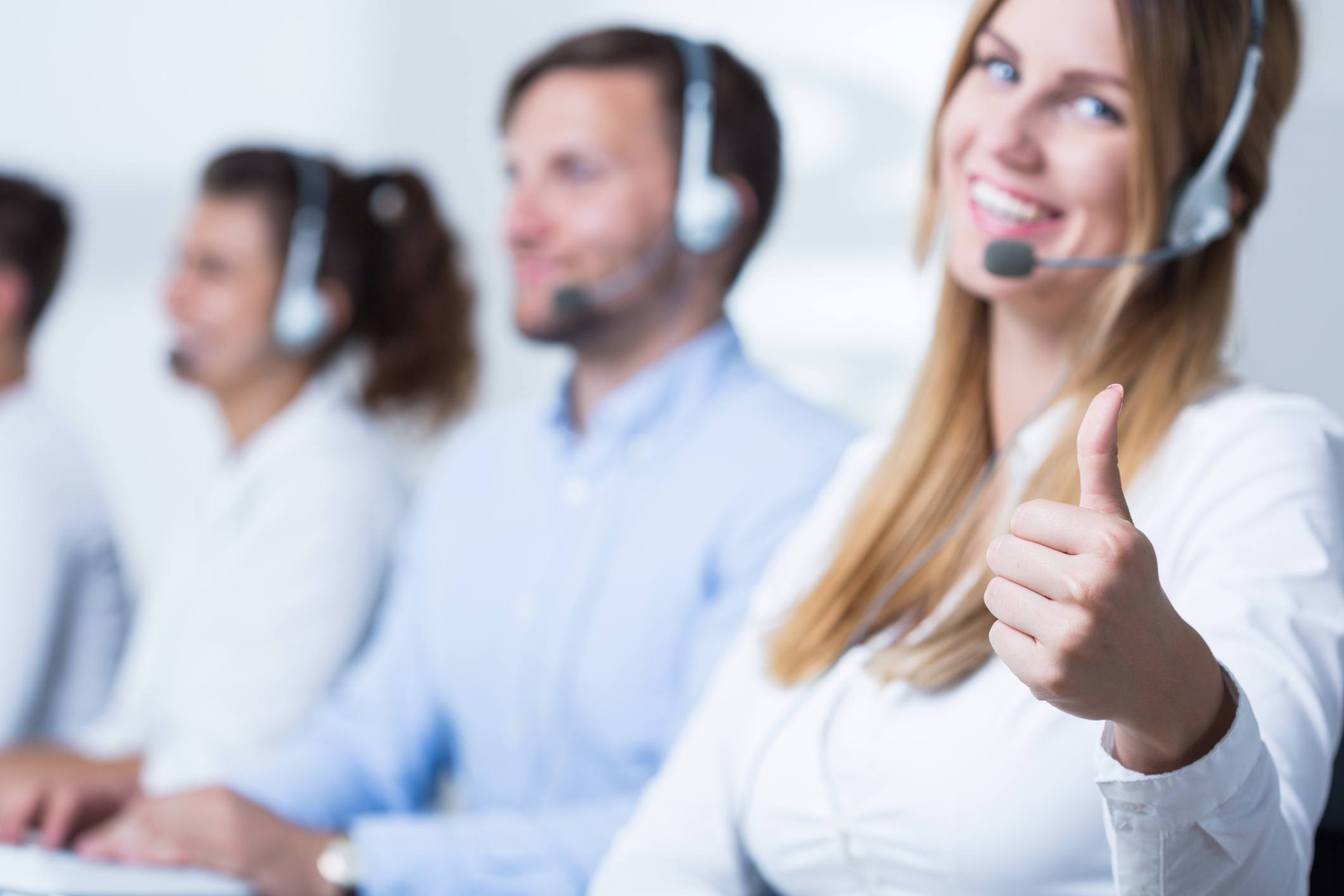 Attractive call center or customer service operator