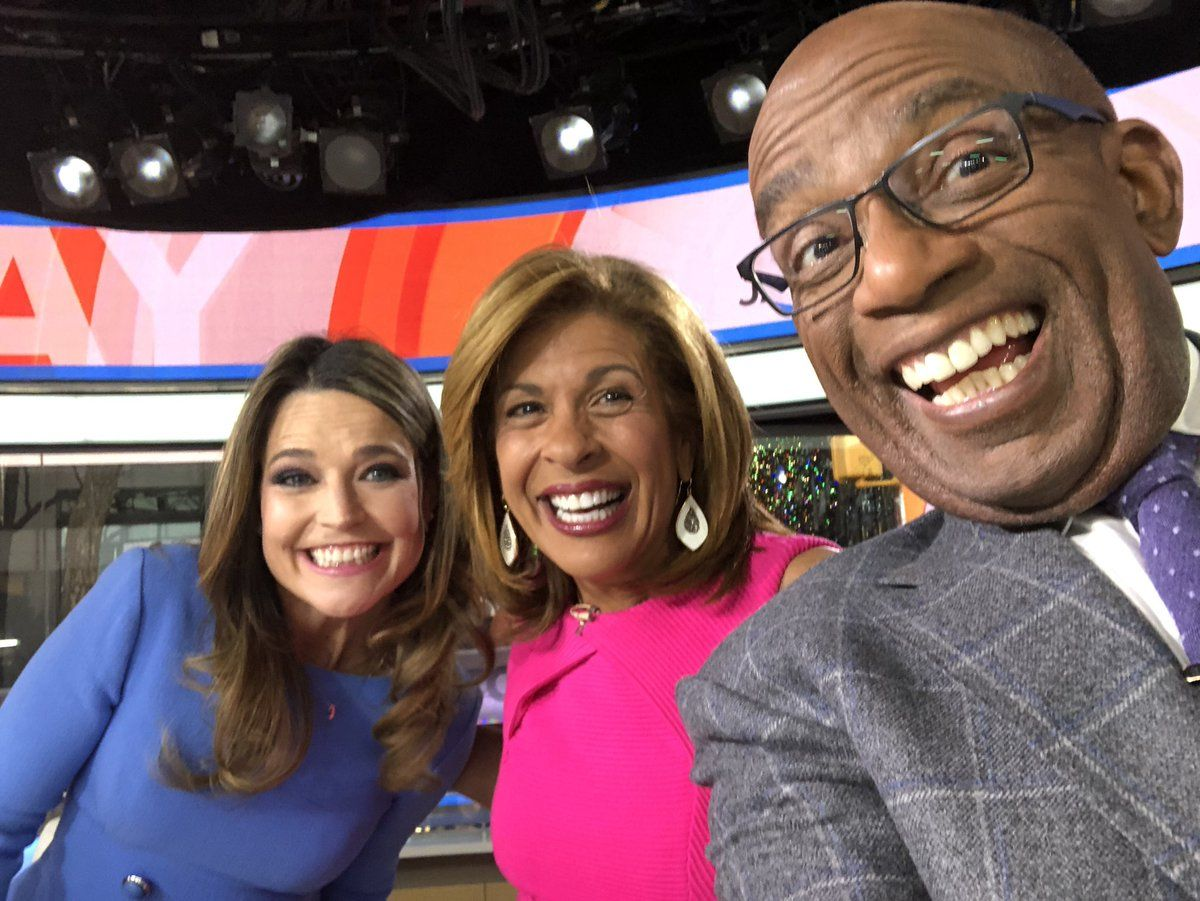 Savannah Guthrie, Hoda kott, and Al roker smile in a selfie
