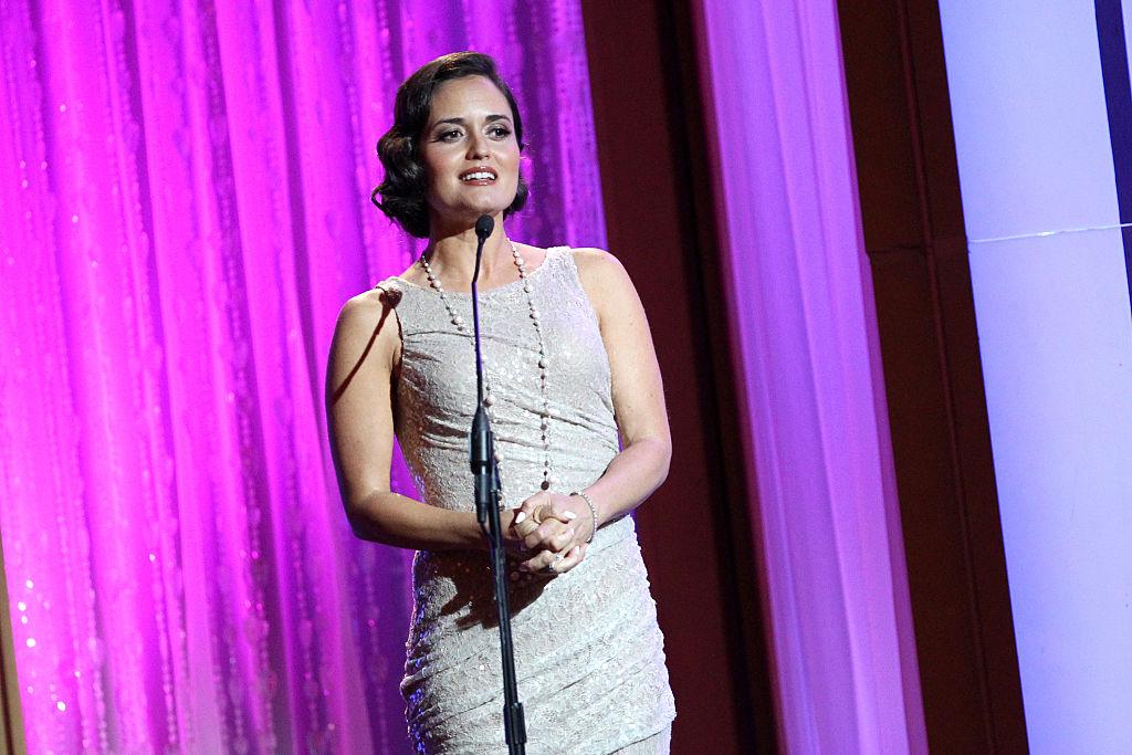 Presenter Danica McKellar speaks onstage during the 41st Annual Gracie Awards