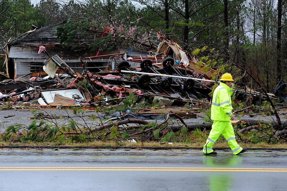 The aftermath of a tornado in a small Alabama town.