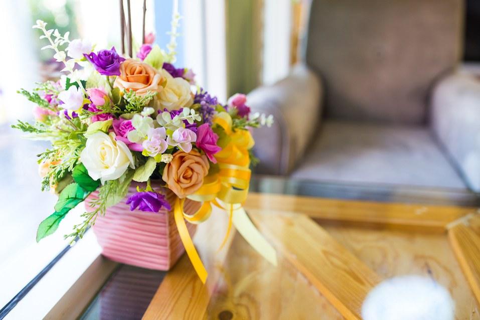Colorful artificial flower decoration