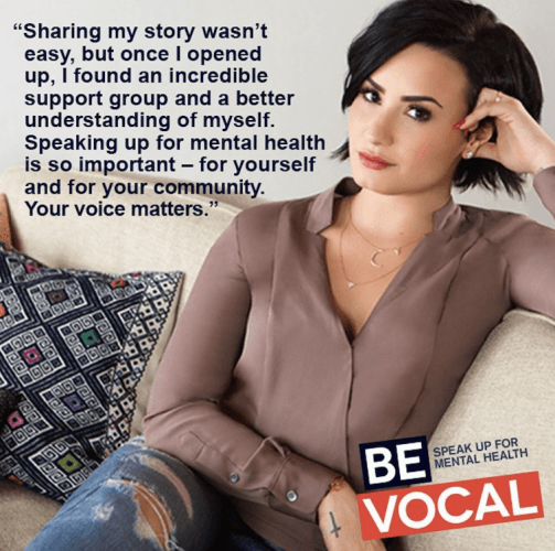 Demi Lovato in her 'Be Vocal' image banner.