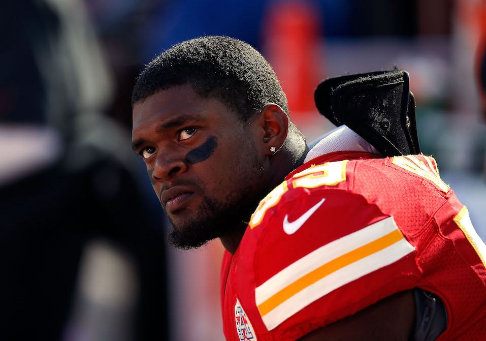 Inside linebacker Jovan Belcher #59 of the Kansas City Chiefs wathces from the sideliens