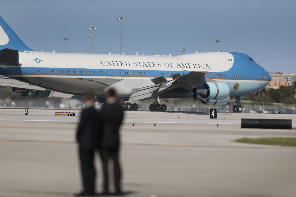 Air Force One arrives with President Donald Trump aboard