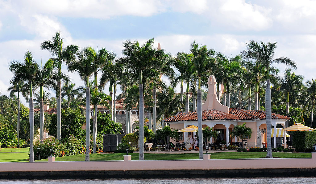 A US Coast Guard boat passes through the Mar-a-Lago Resort